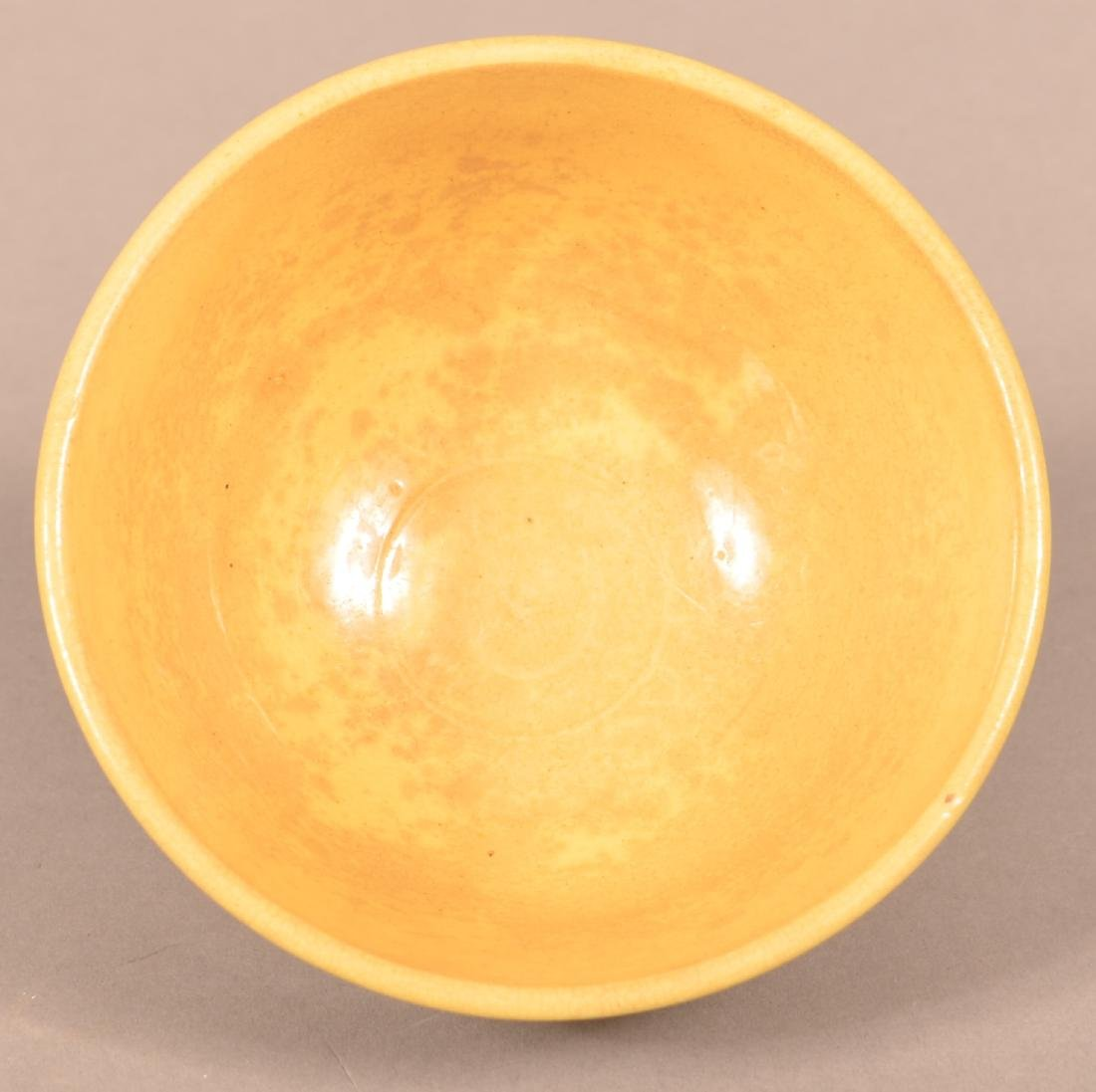 Small Yellowware Bowl w/ Seaweed Decoration. - 2