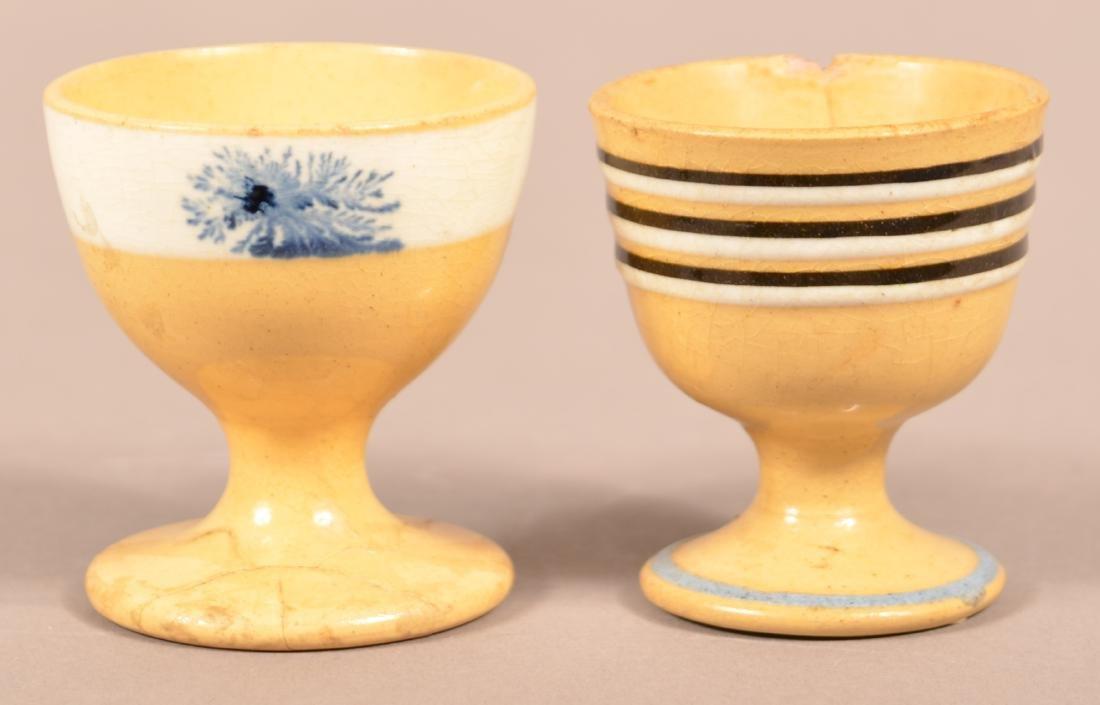 2 19th Century Yellowware Footed Master Salts.