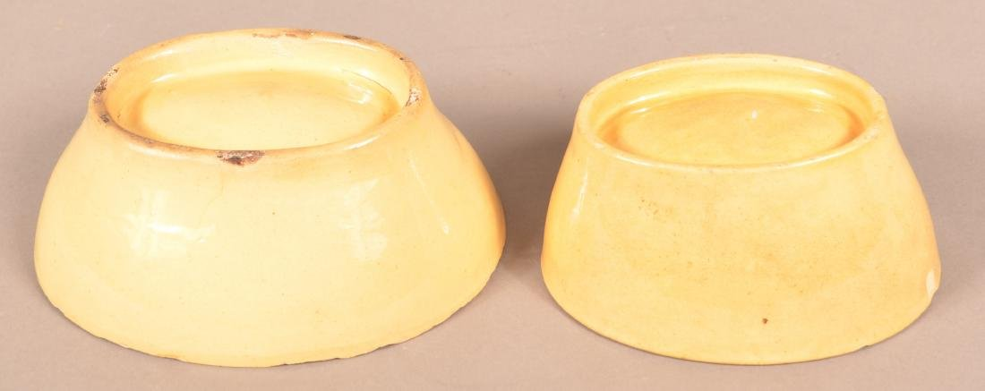 2 Antique Yellowware Oval Molds. - 3