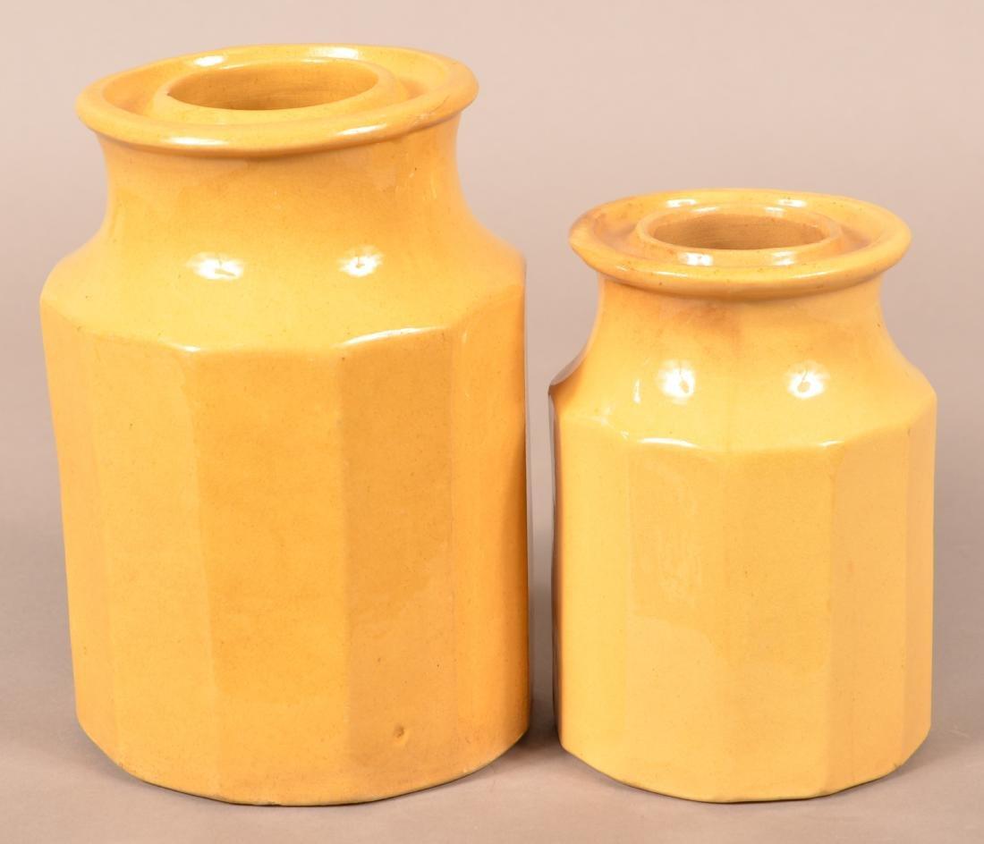 Two Antique Yellowware Paneled Preserve Jars.