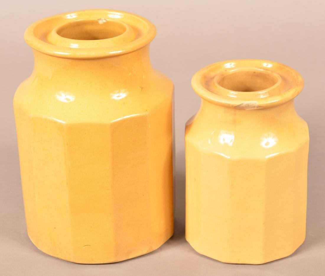 Two Antique Yellowware Paneled Preserve Jars. - 2