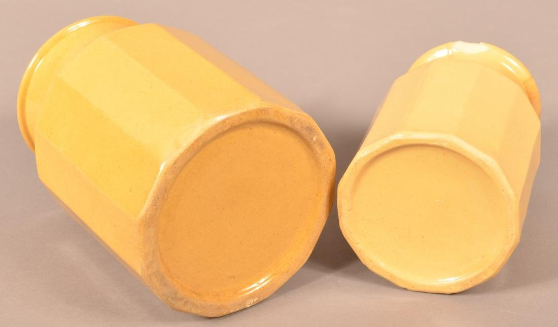 Two Antique Yellowware Paneled Preserve Jars. - 3