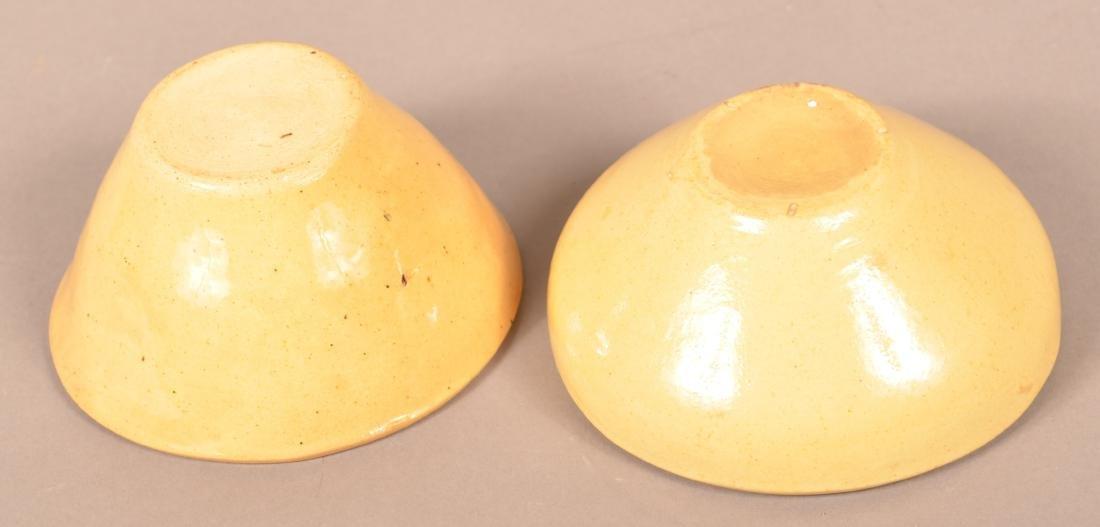 2 Antique Yellowware Round Molds. - 3