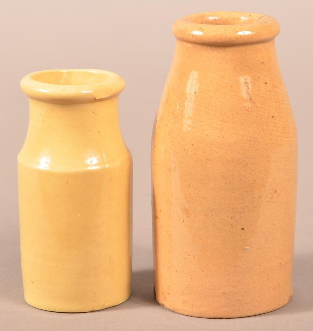 Two Various Antique Yellowware Cream Bottles.