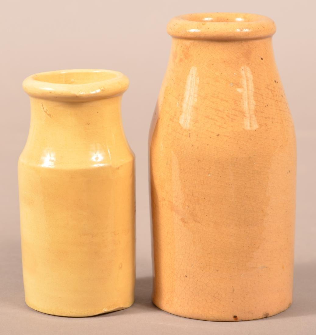 Two Various Antique Yellowware Cream Bottles. - 2