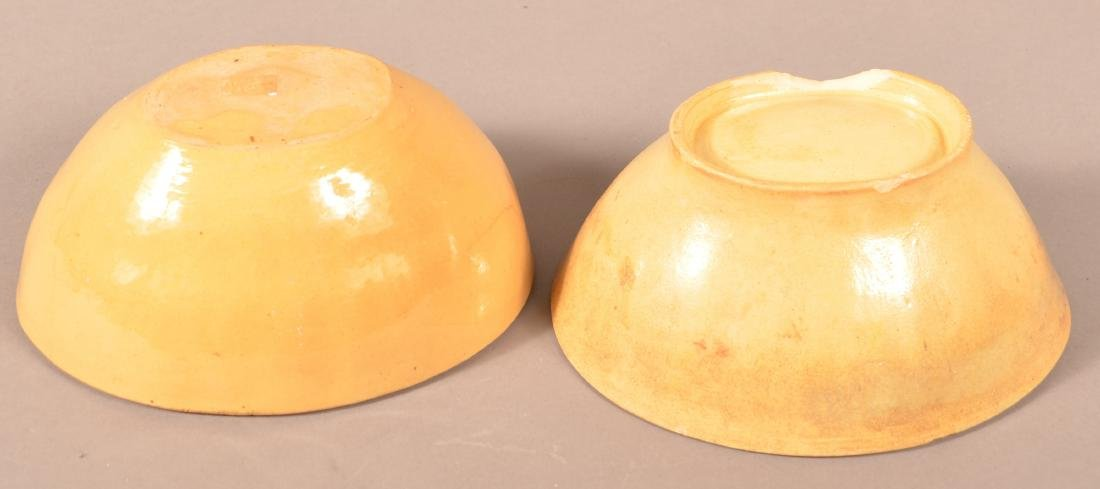 2 Antique Yellowware Oval Molds. - 3