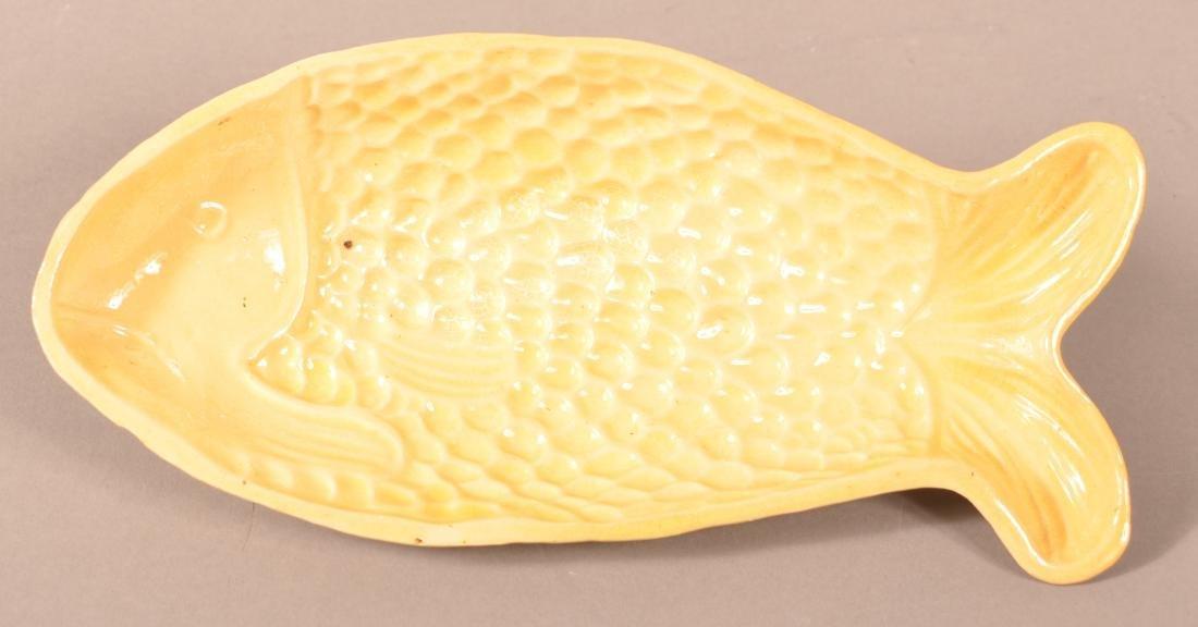 Antique Yellowware Fish Form Mold.