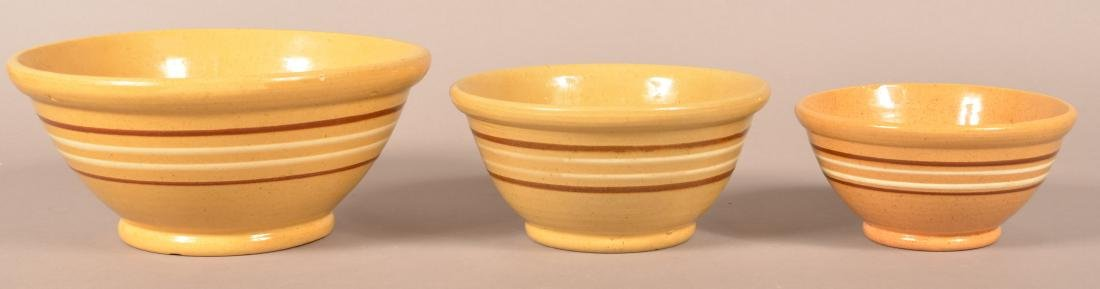 Three Antique Yellowware Graduated Bowls. - 2
