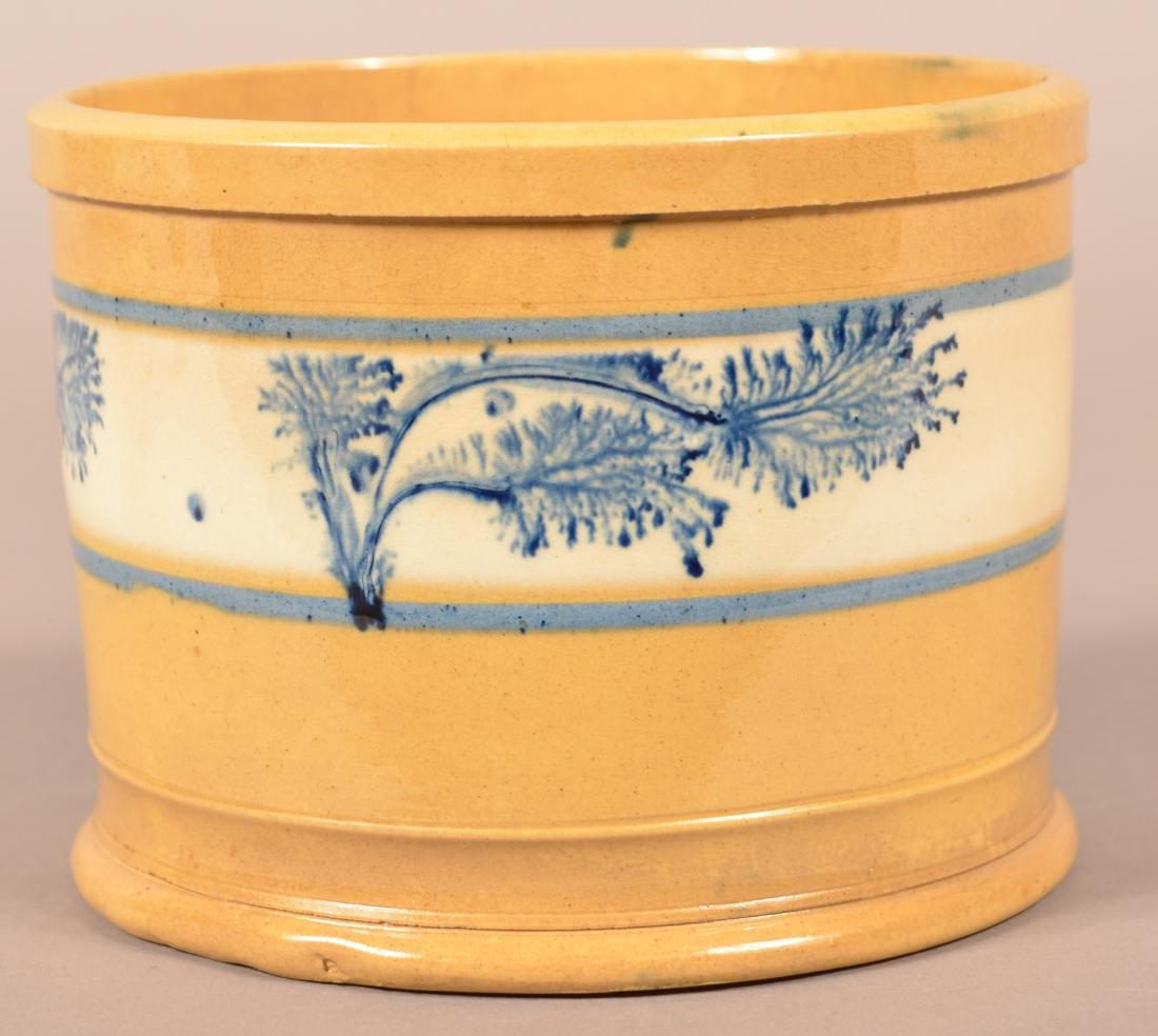 Yellowware Butter Tub with Blue Seaweed Dec.