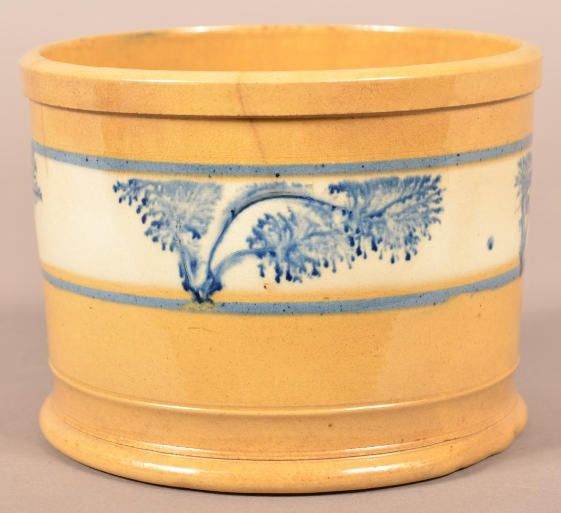 Yellowware Butter Tub with Blue Seaweed Dec. - 2