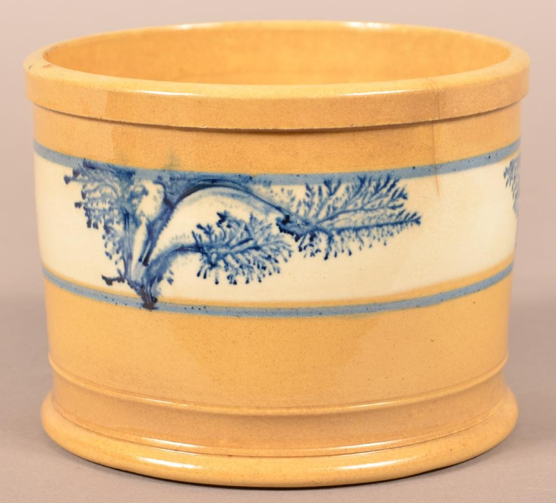 Yellowware Butter Tub with Blue Seaweed Dec. - 3