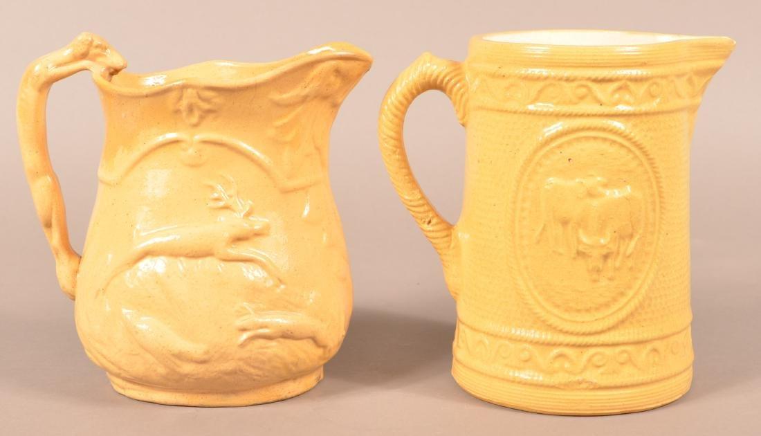 Antique Yellowware Hound Handle Pitcher.