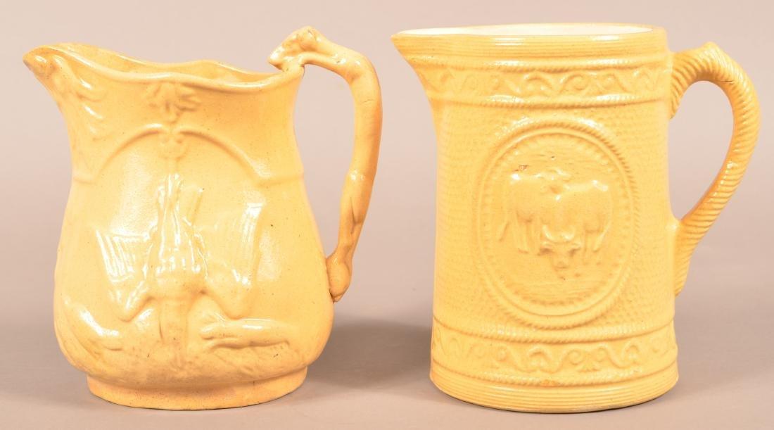 Antique Yellowware Hound Handle Pitcher. - 2