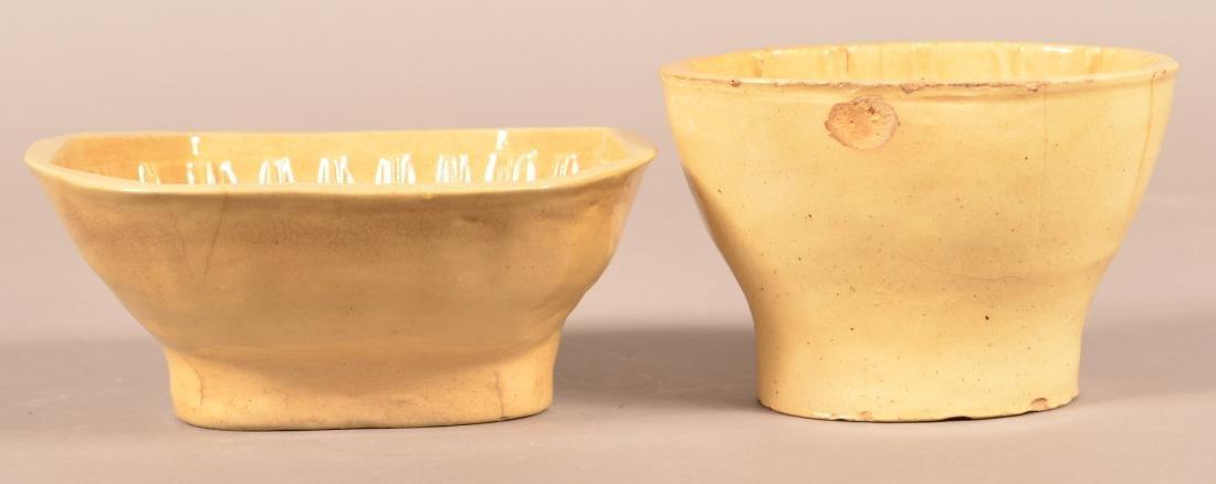 2 Antique Yellowware Oval Molds. - 2