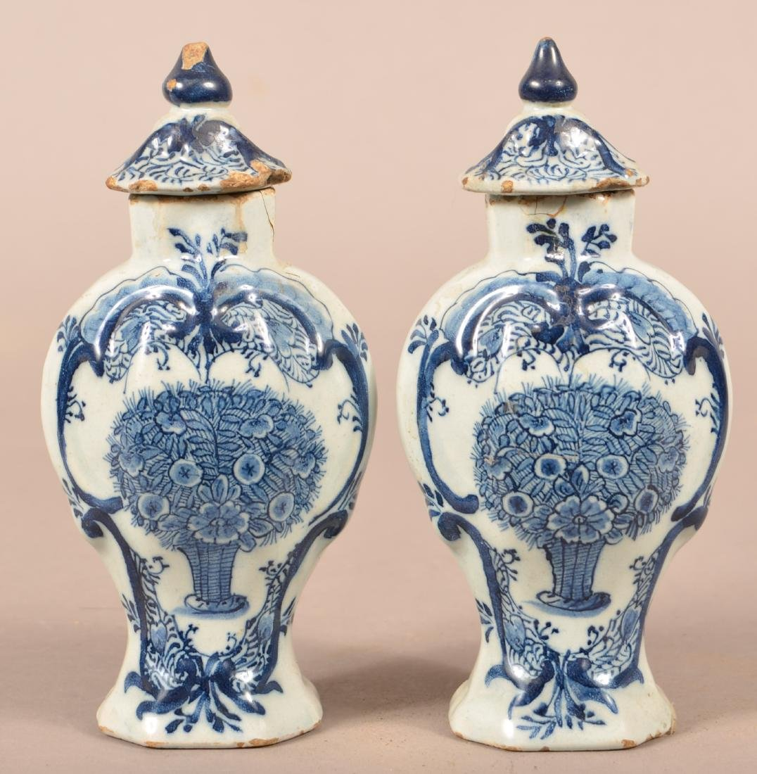 Pair of Antique Delft Vases and Covers.