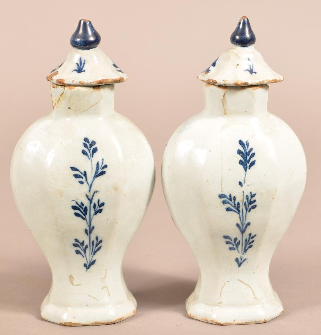 Pair of Antique Delft Vases and Covers. - 2