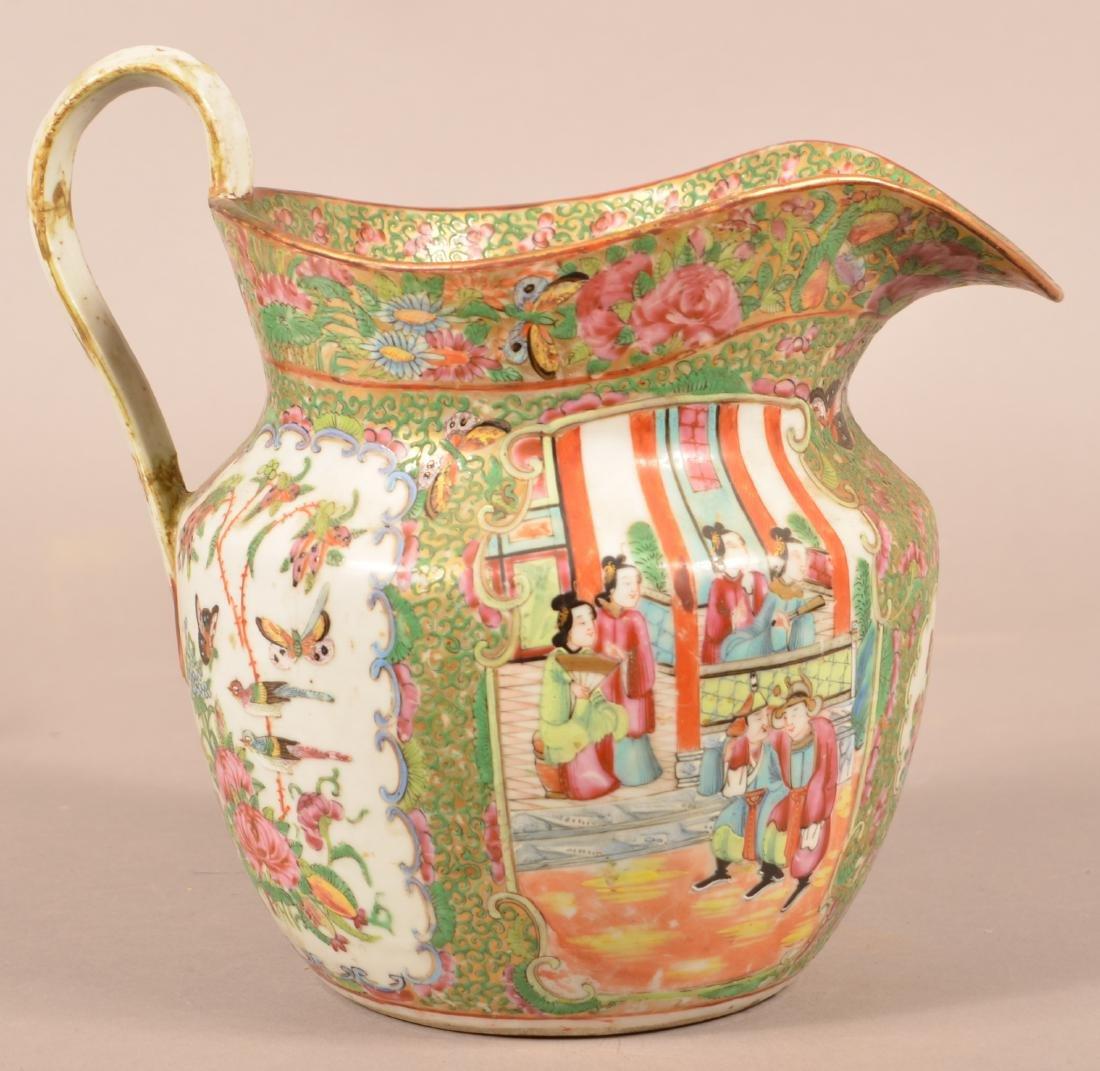 Rose Medallion Oriental Porcelain Large Pitcher. - 3