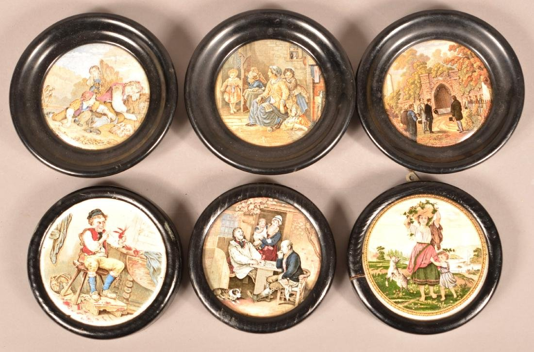 Six Antique/Vintage English Pot Lids.