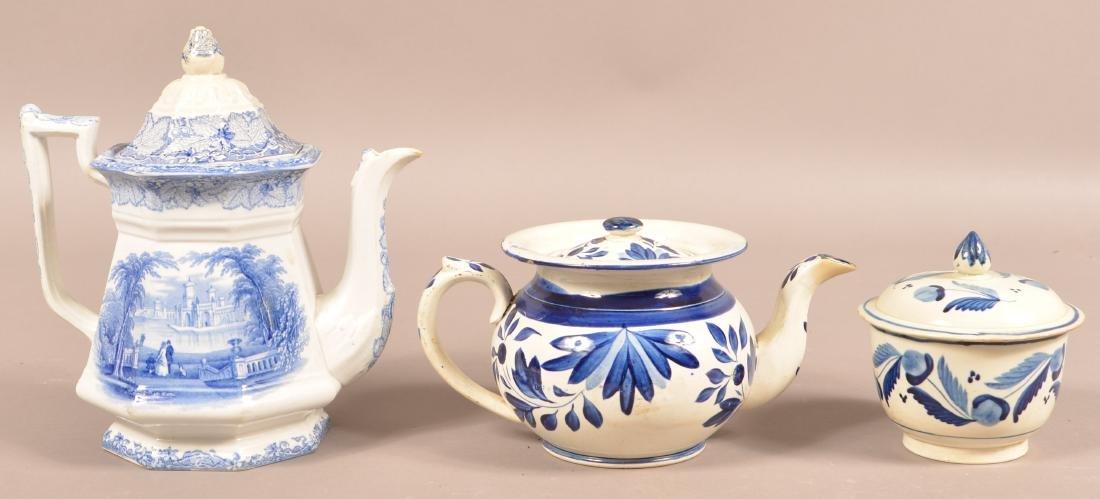 Leeds Soft Paste China Teapot and Sugar Bowl.