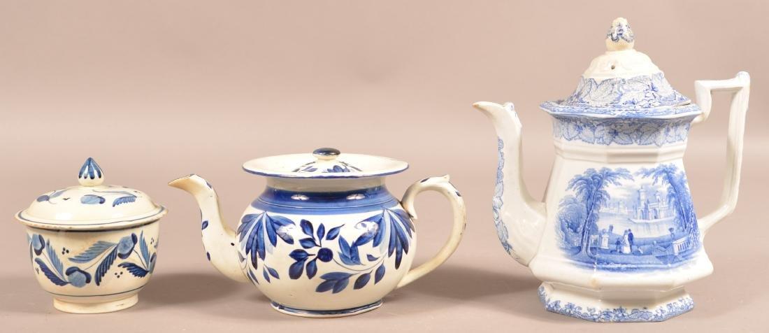 Leeds Soft Paste China Teapot and Sugar Bowl. - 2