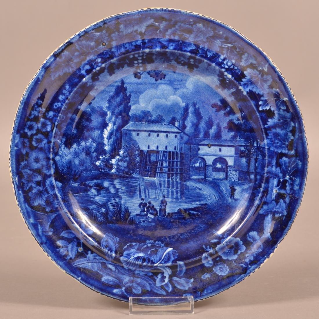 Blue Transfer Staffordshire China Plate.