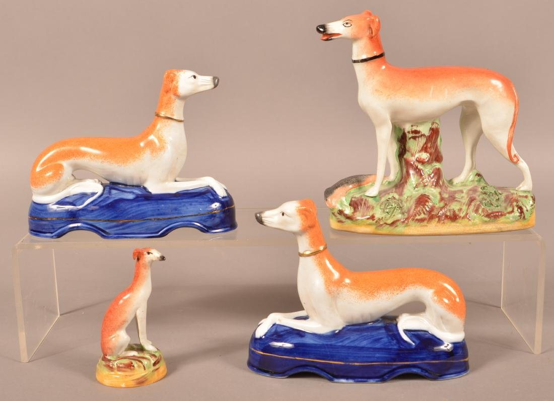 Four Staffordshire China Whippet Figures.