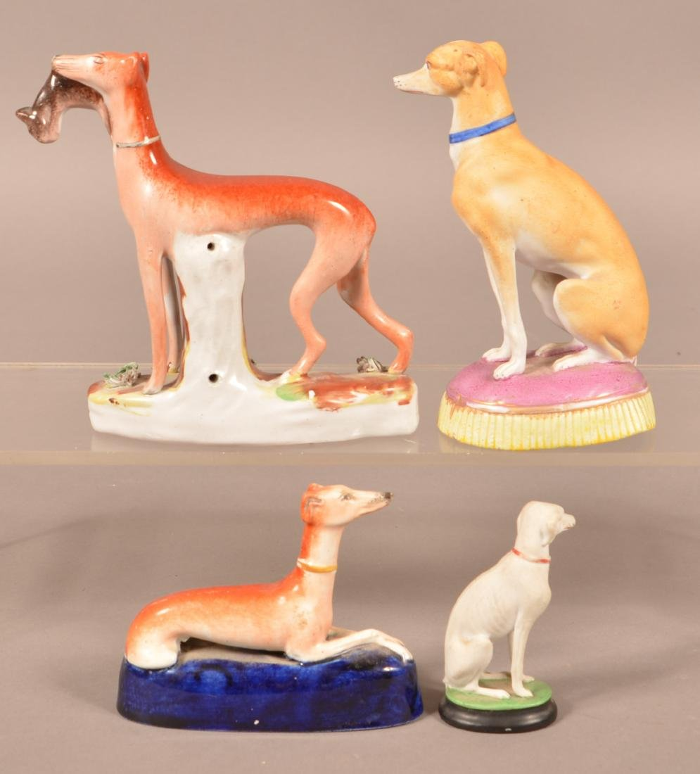 Four Staffordshire China Whippet Figures. - 2