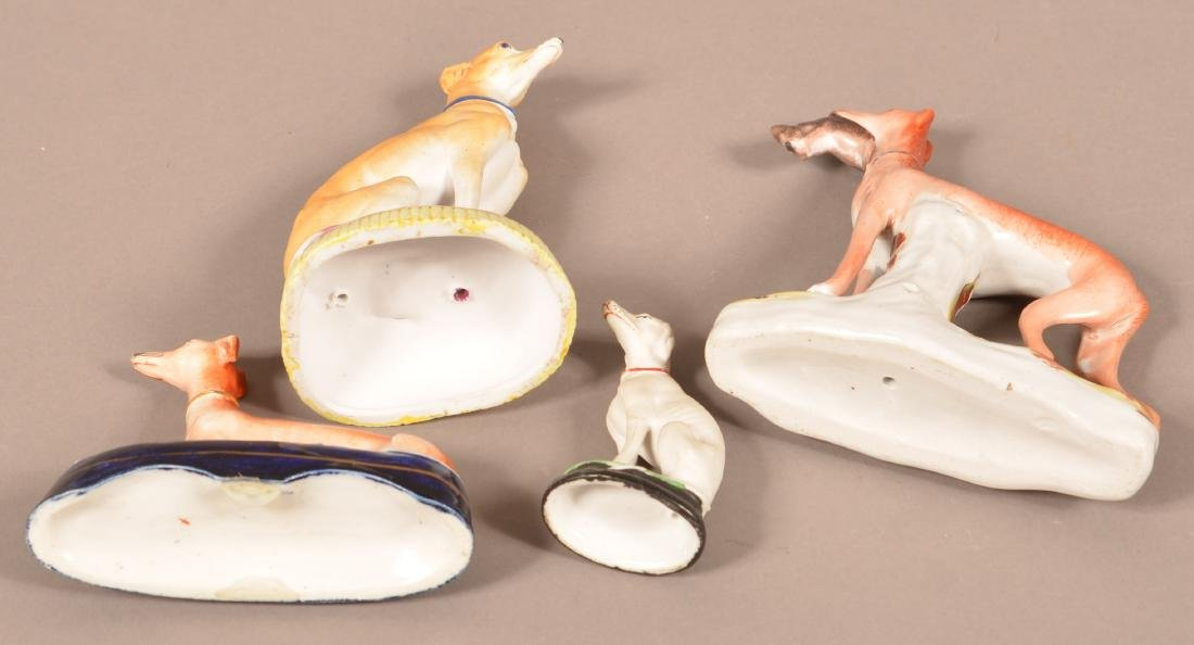 Four Staffordshire China Whippet Figures. - 3