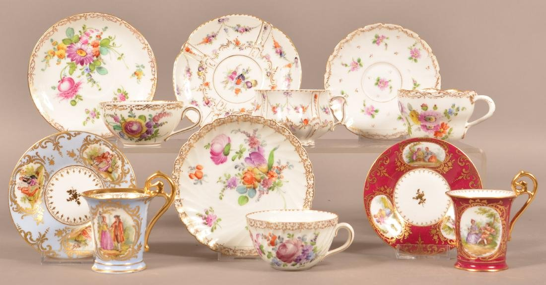 Six Dresden Porcelain Cups and Saucers.