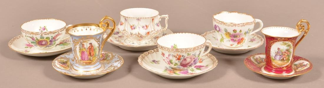 Six Dresden Porcelain Cups and Saucers. - 2