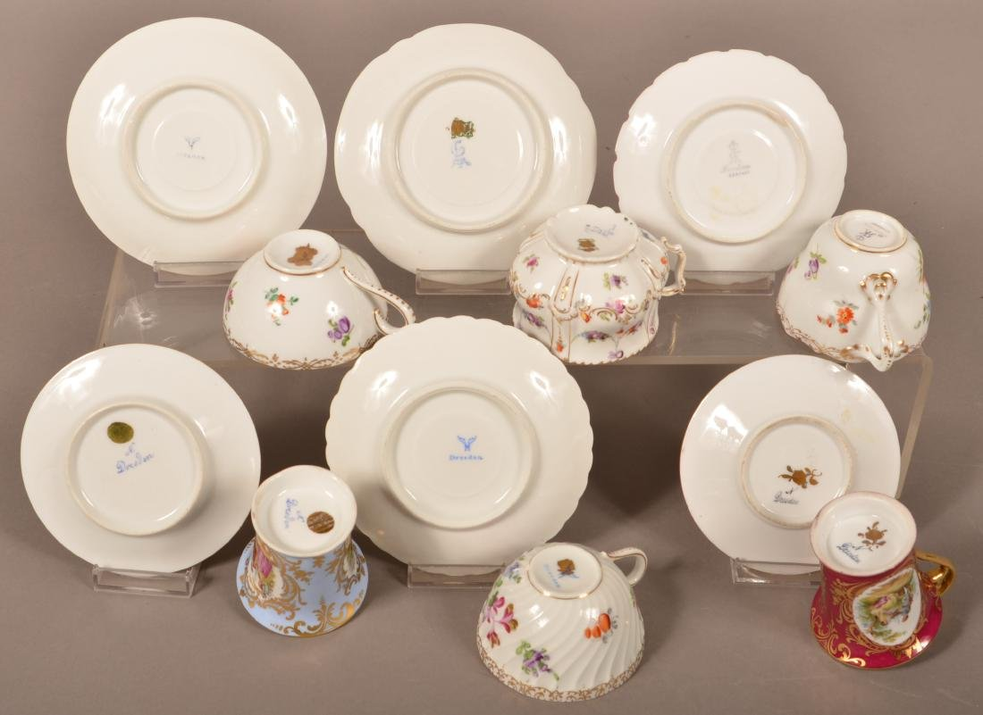 Six Dresden Porcelain Cups and Saucers. - 3