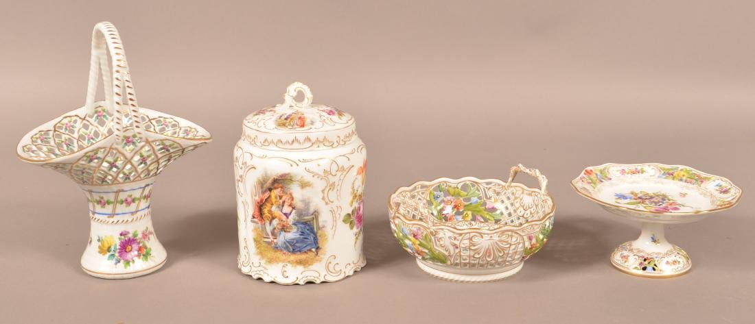 Four Pieces of Dresden Hand Painted Porcelain.