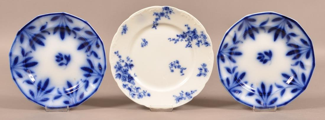 Three Flow Blue China Plates.