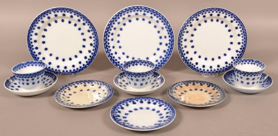 Lot of Flow Blue Snowflake Ironstone China.