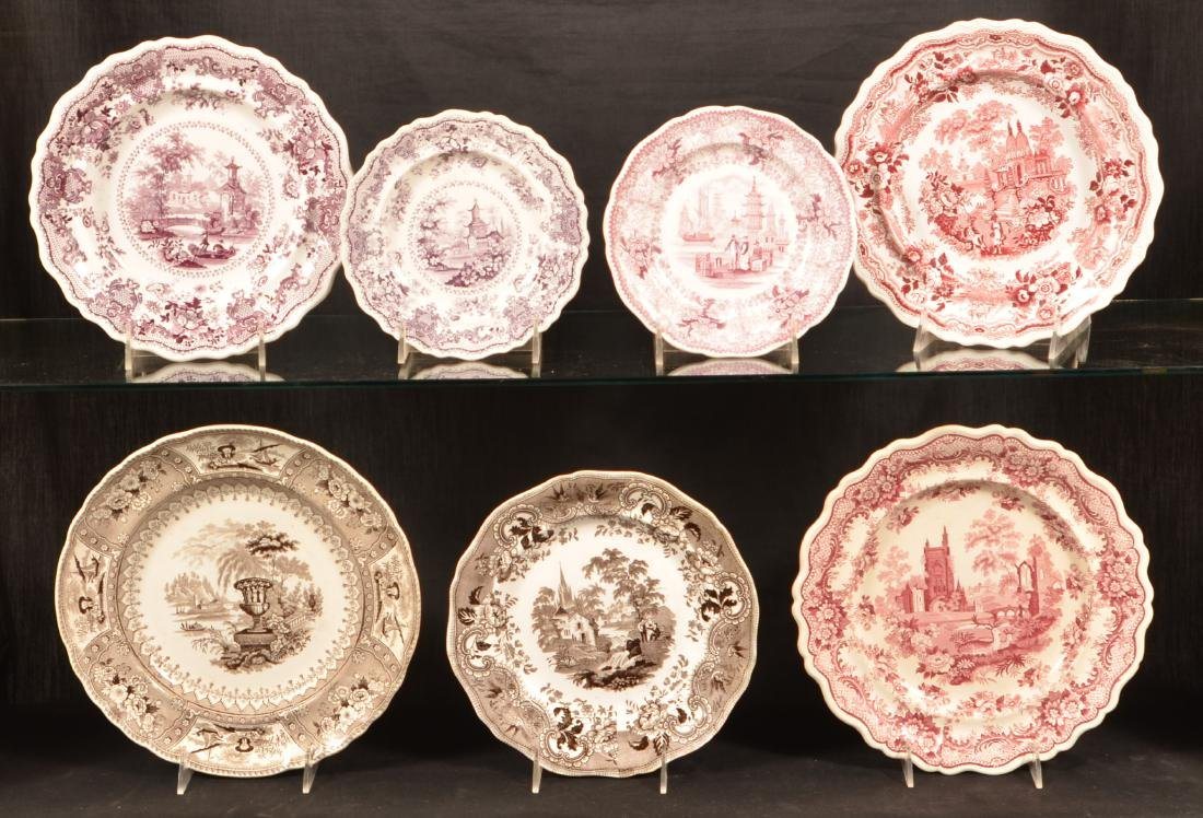 7 Various Staffordshire Romantic View Plates.