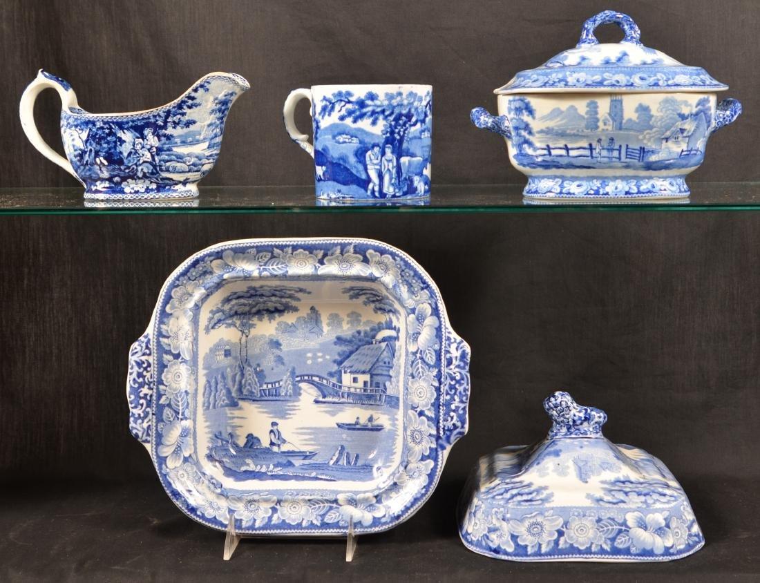 Blue Staffordshire China Romantic Views China. - 2