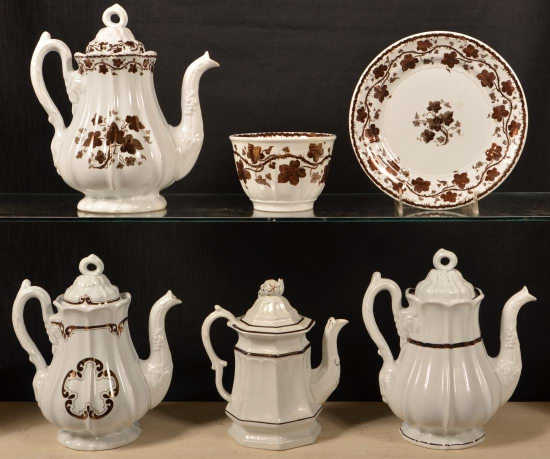 6 Pieces of Copper Lustre Ironstone China.