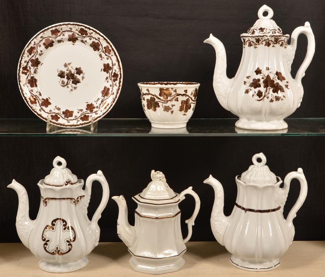 6 Pieces of Copper Lustre Ironstone China. - 3