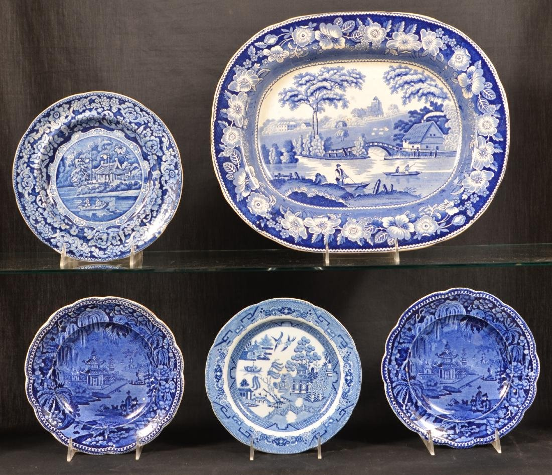Five Pieces Blue Transfer Staffordshire China.