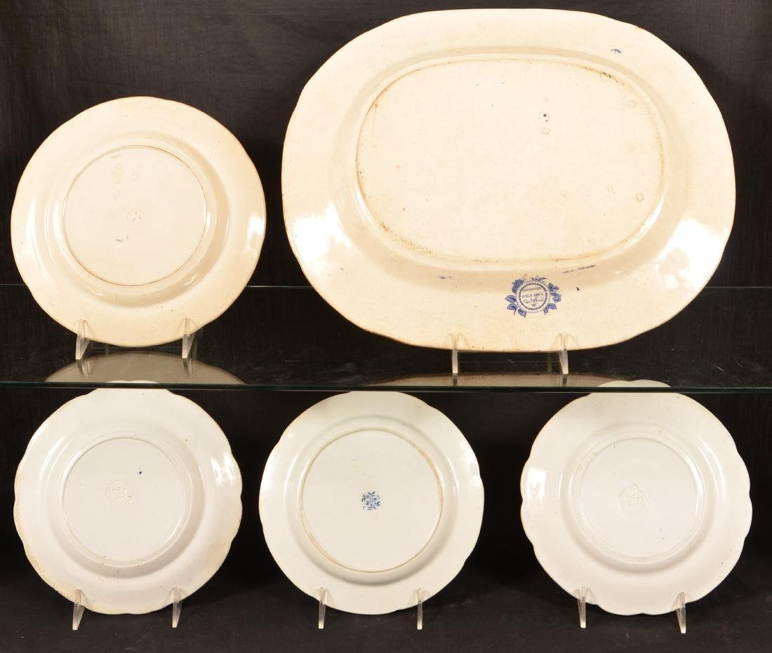 Five Pieces Blue Transfer Staffordshire China. - 2