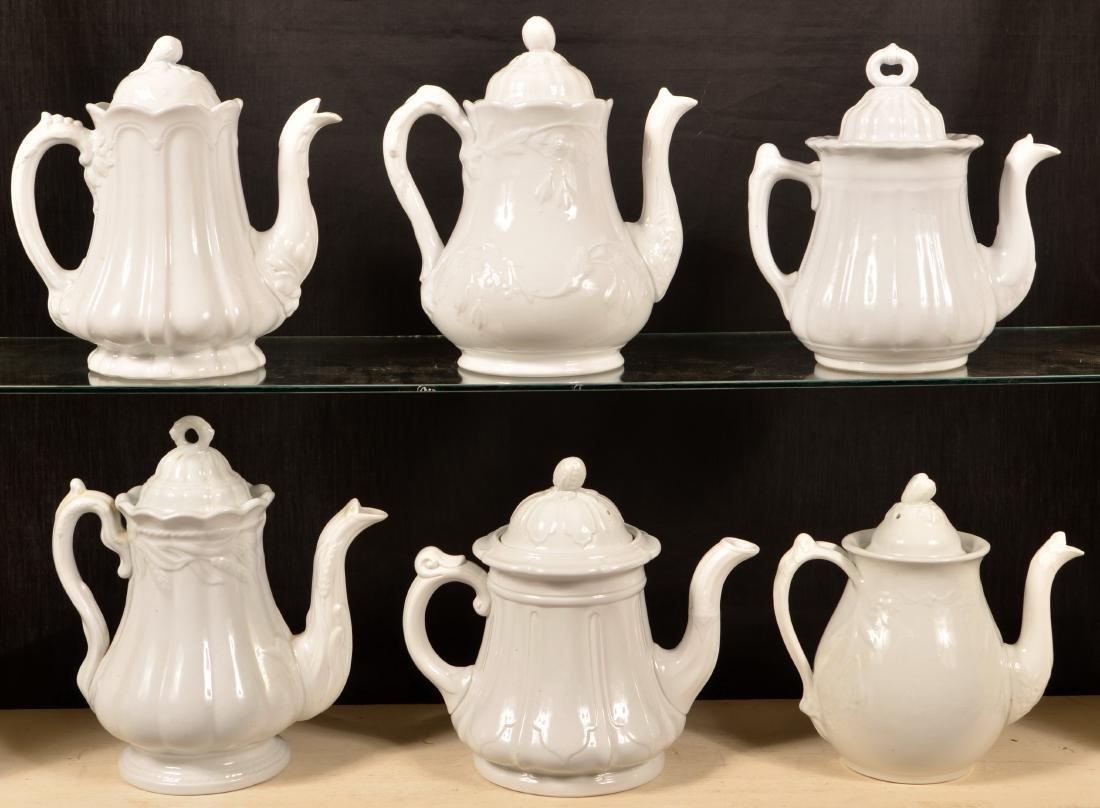 Six Various White Ironstone Coffee Pots.