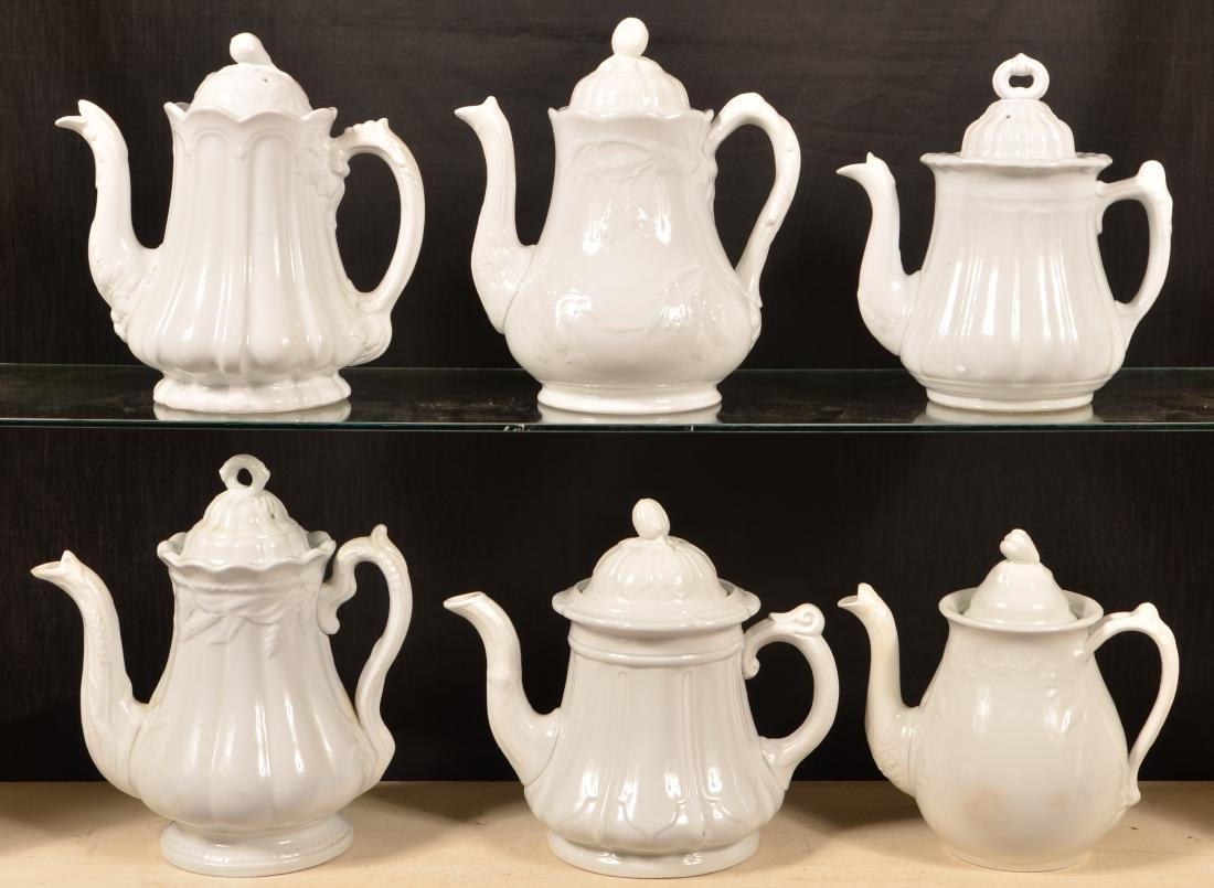 Six Various White Ironstone Coffee Pots. - 2