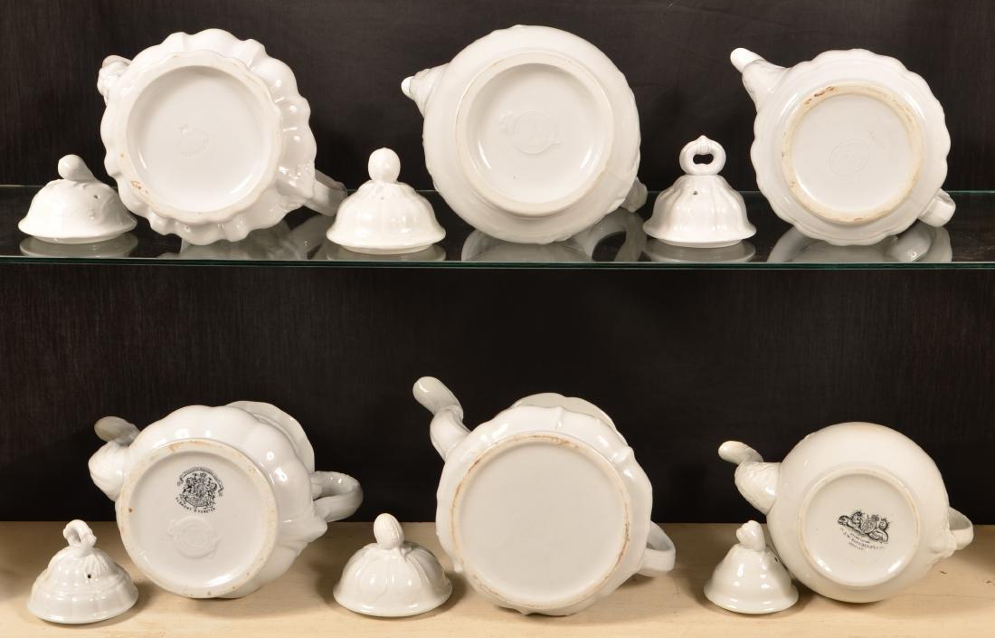Six Various White Ironstone Coffee Pots. - 3