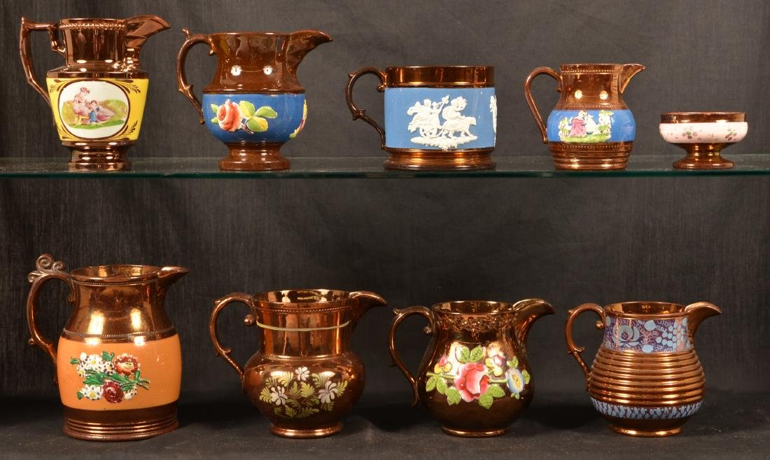 Nine Pieces of Copper Lustre China.