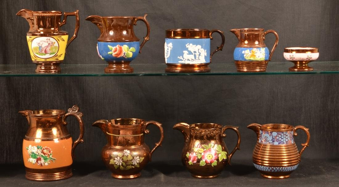 Nine Pieces of Copper Lustre China. - 2