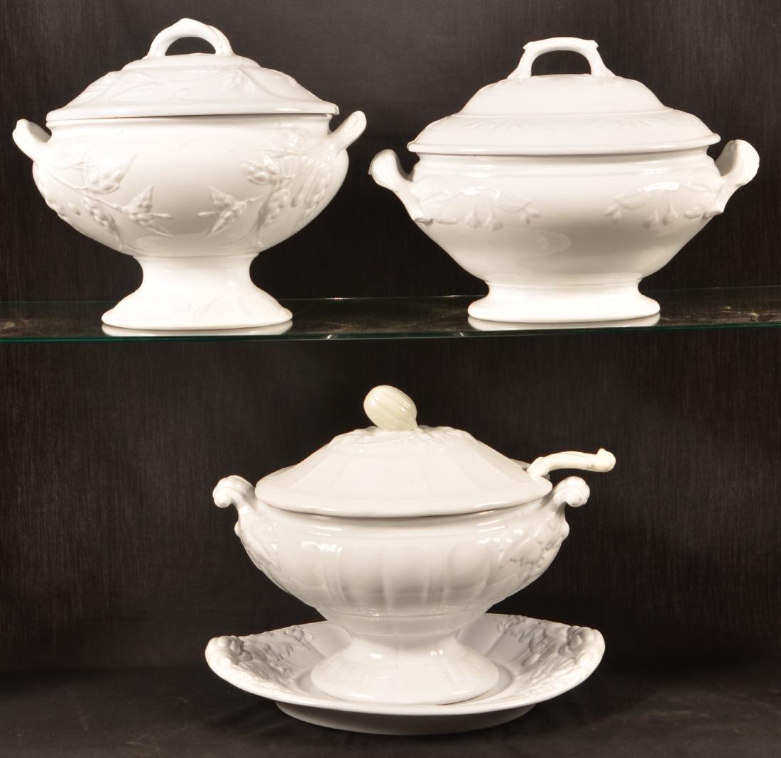 Three White Ironstone China Soup Tureens.