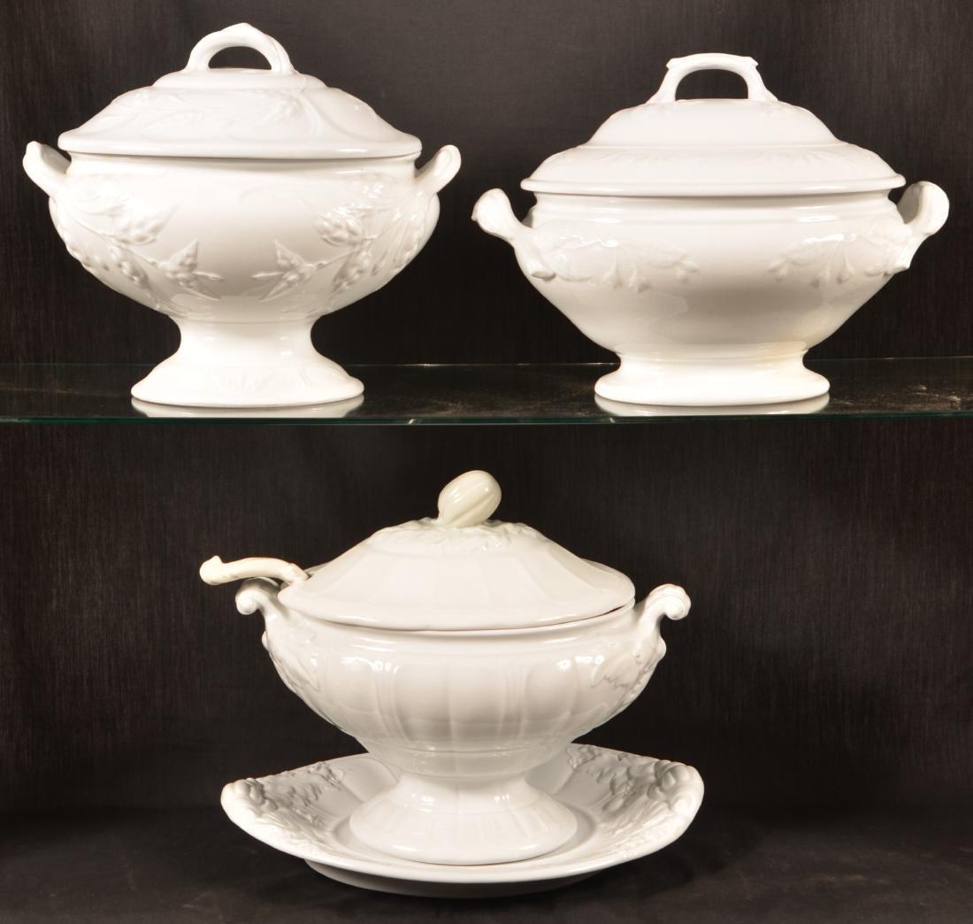 Three White Ironstone China Soup Tureens. - 2