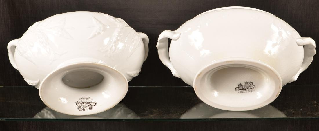 Three White Ironstone China Soup Tureens. - 3
