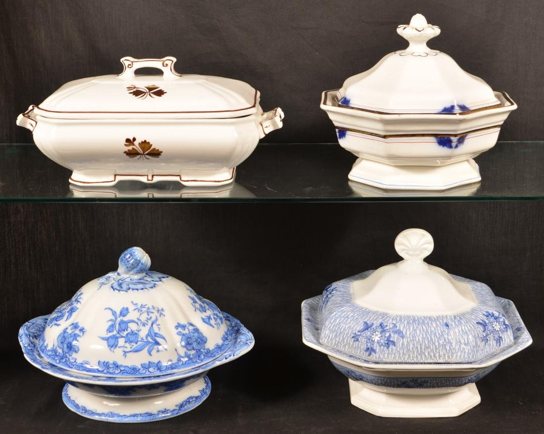 Four Ironstone China Covered Vegetable Dishes.