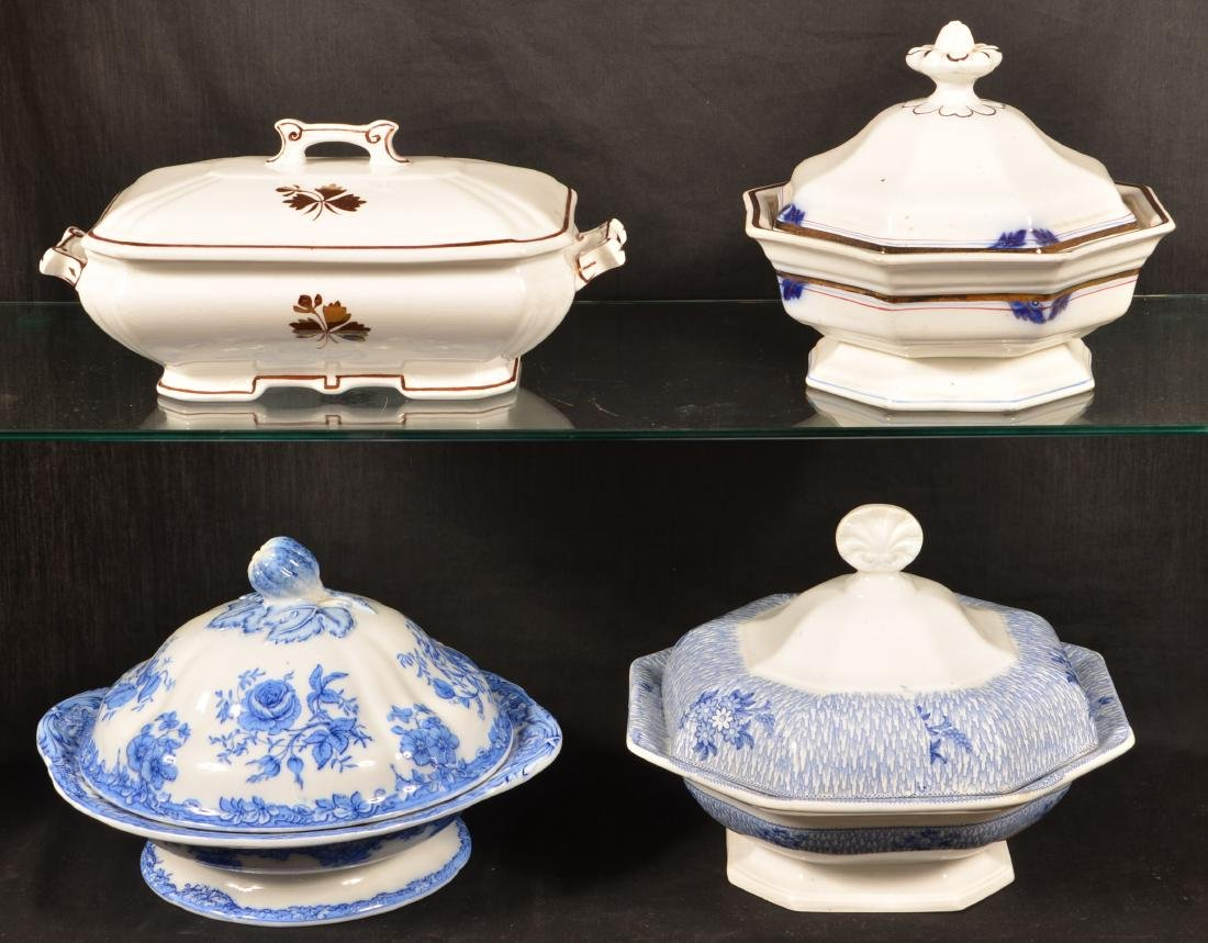 Four Ironstone China Covered Vegetable Dishes. - 2